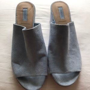 Baby blue mules